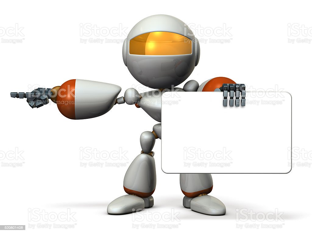 Cute robot with message boards, is pointing. stock photo