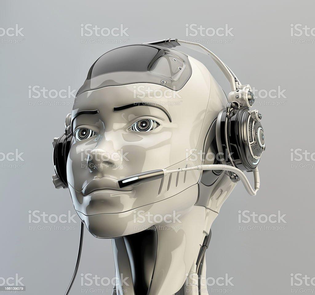 Cute robotic operator stock photo