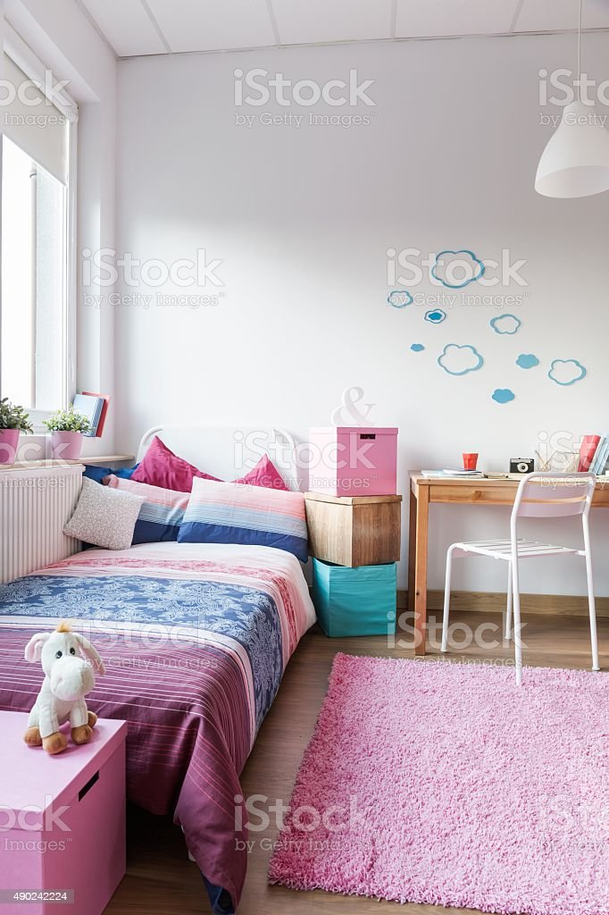 Cute room for little girl stock photo