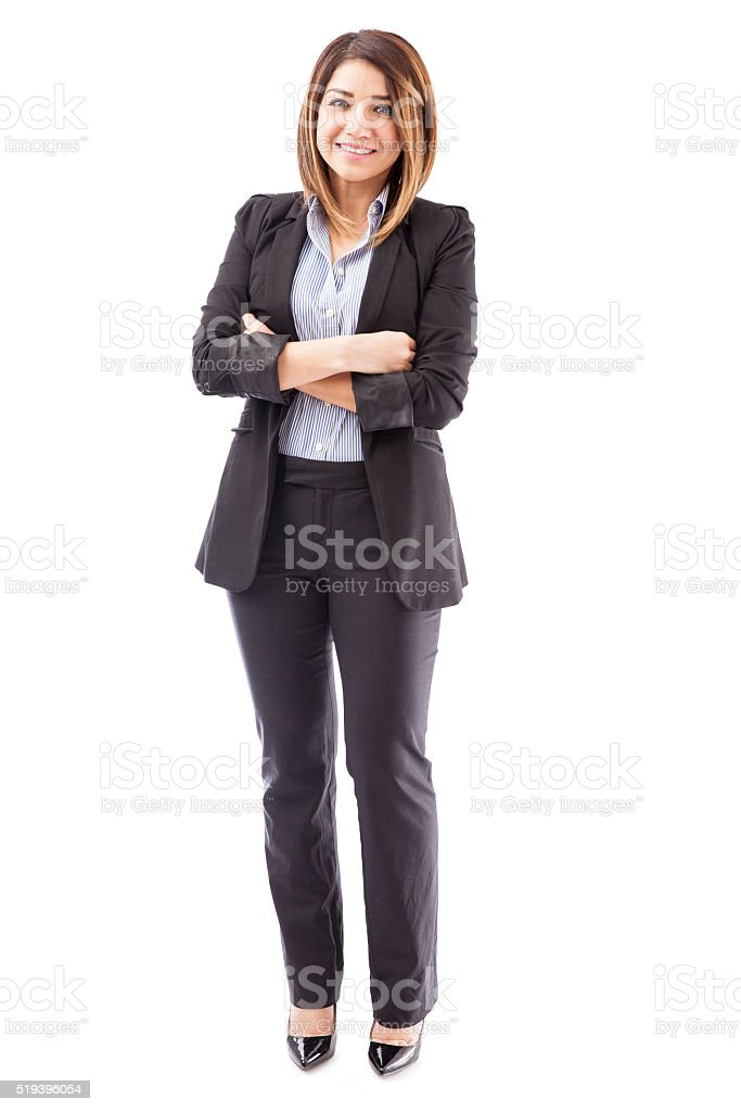 Cute salesperson with arms crossed stock photo