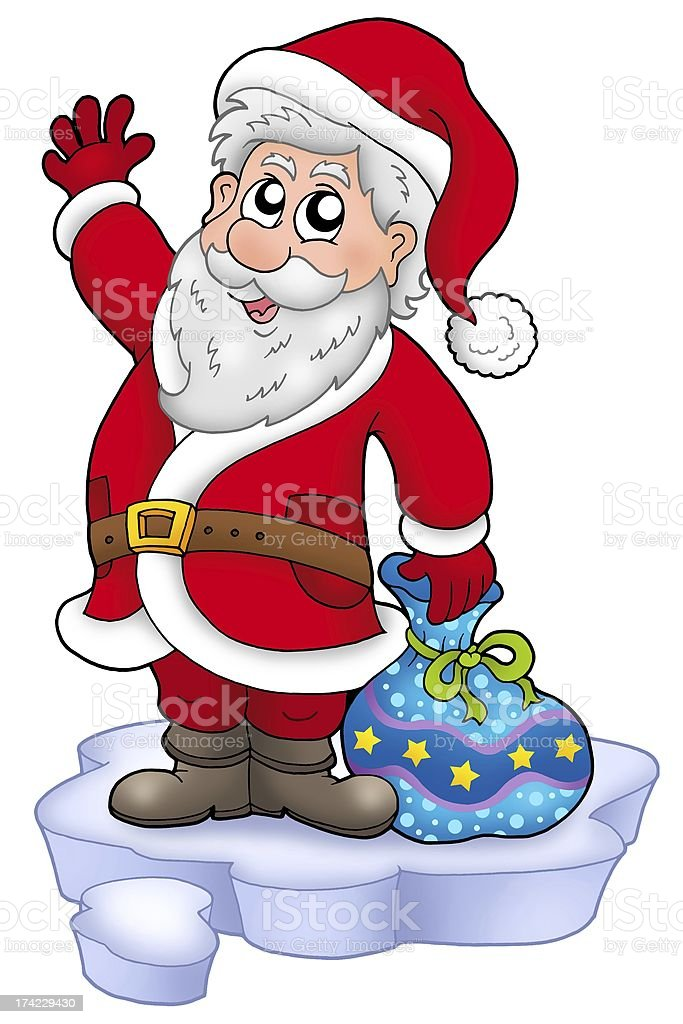 Cute Santa Claus with gifts on snow royalty-free stock photo