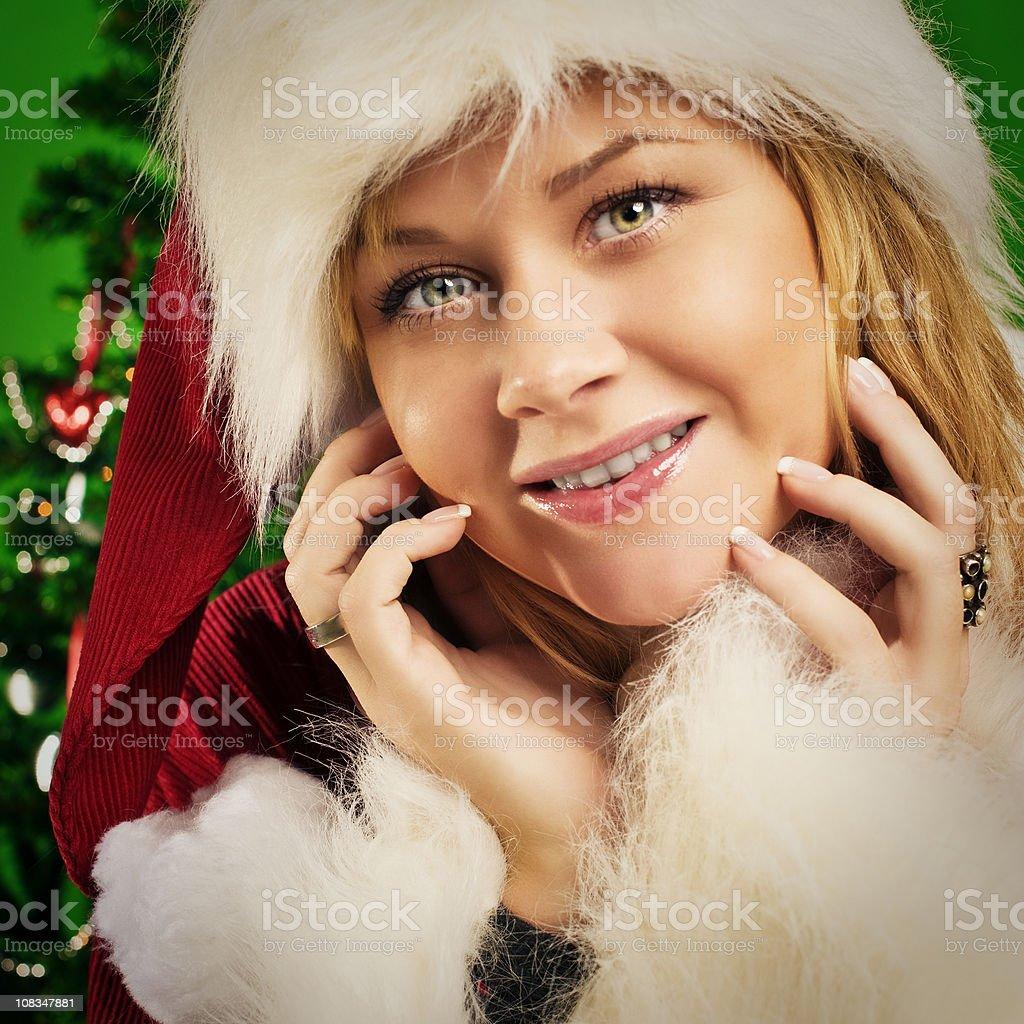 Cute santa girl royalty-free stock photo
