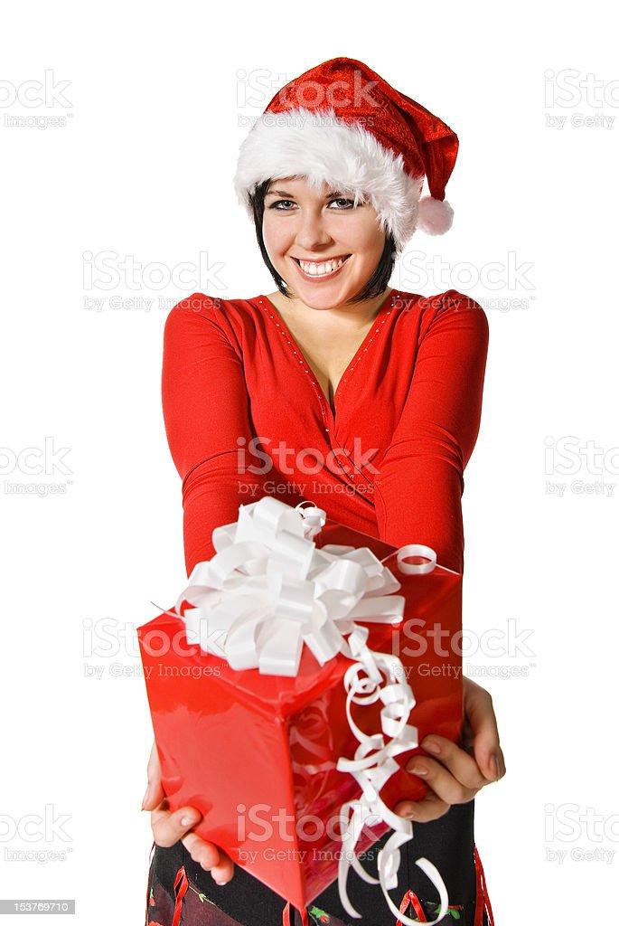 Cute Santa with gift box royalty-free stock photo