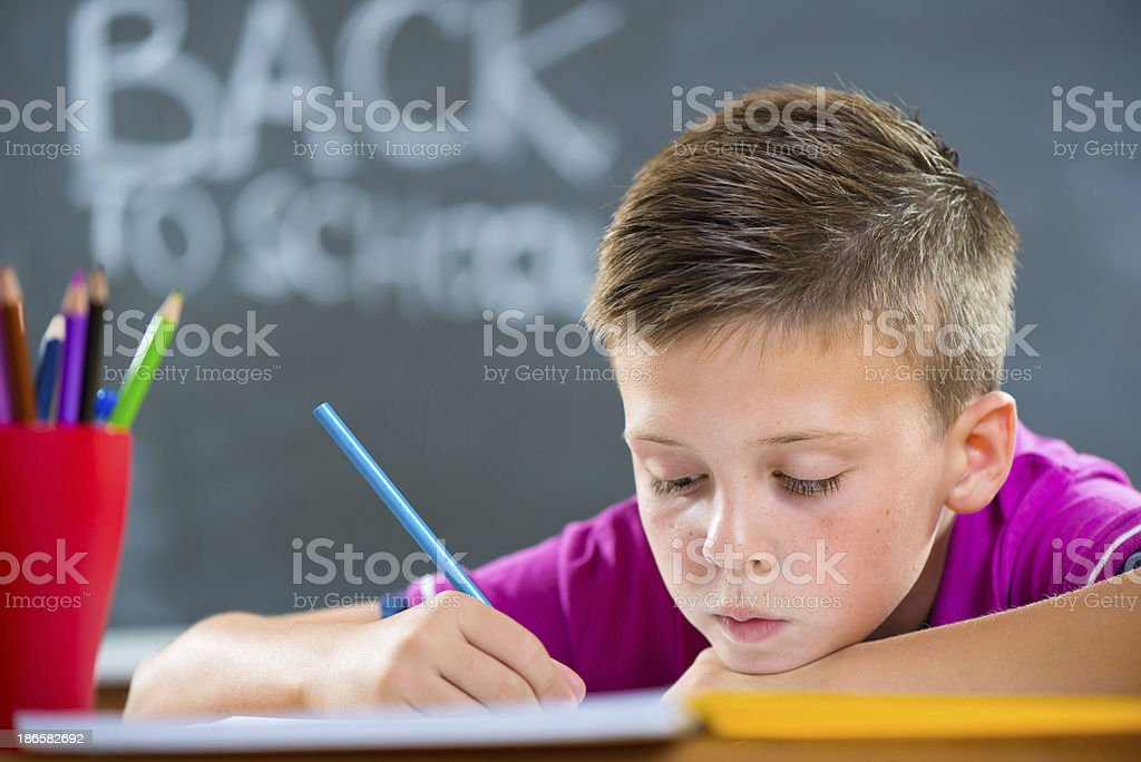 Cute school boy studying in classroom royalty-free stock photo