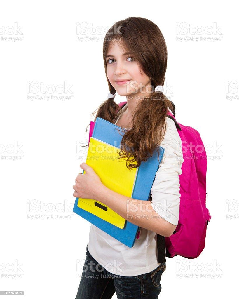 Cute schoolgirl portrait stock photo