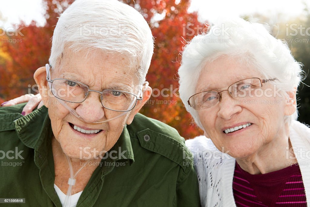 Cute Senior Couple Outdoors In Autumn stock photo