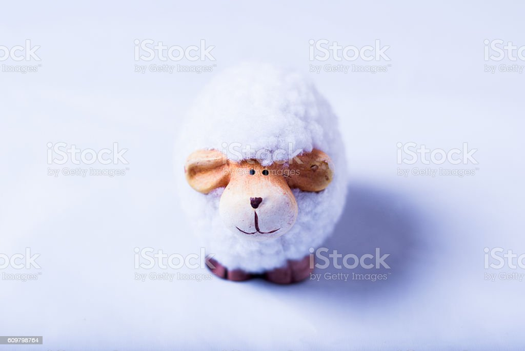 Cute sheep toy stock photo