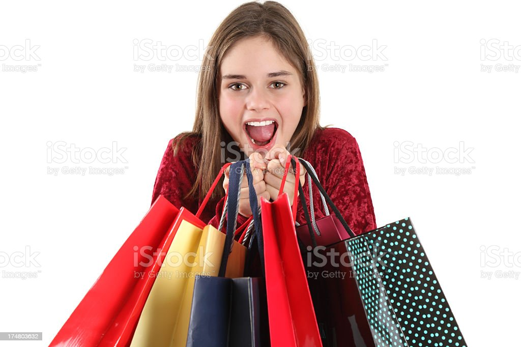 Cute shopping woman holding bags royalty-free stock photo