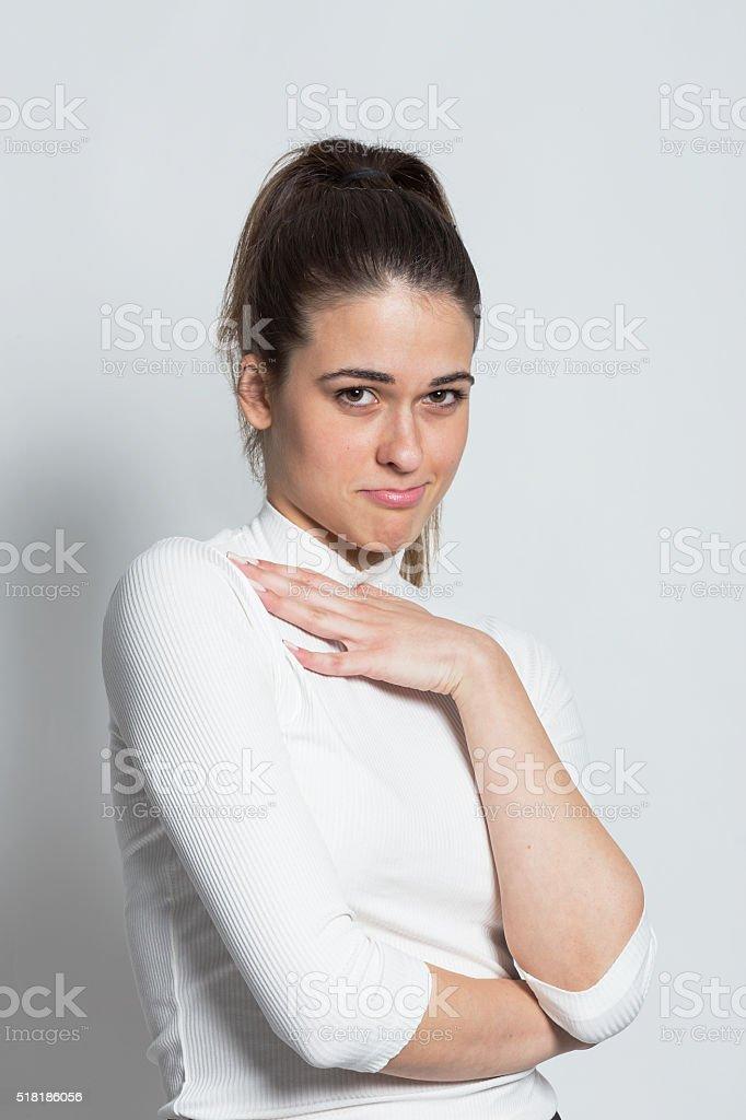 Cute shy girl stock photo