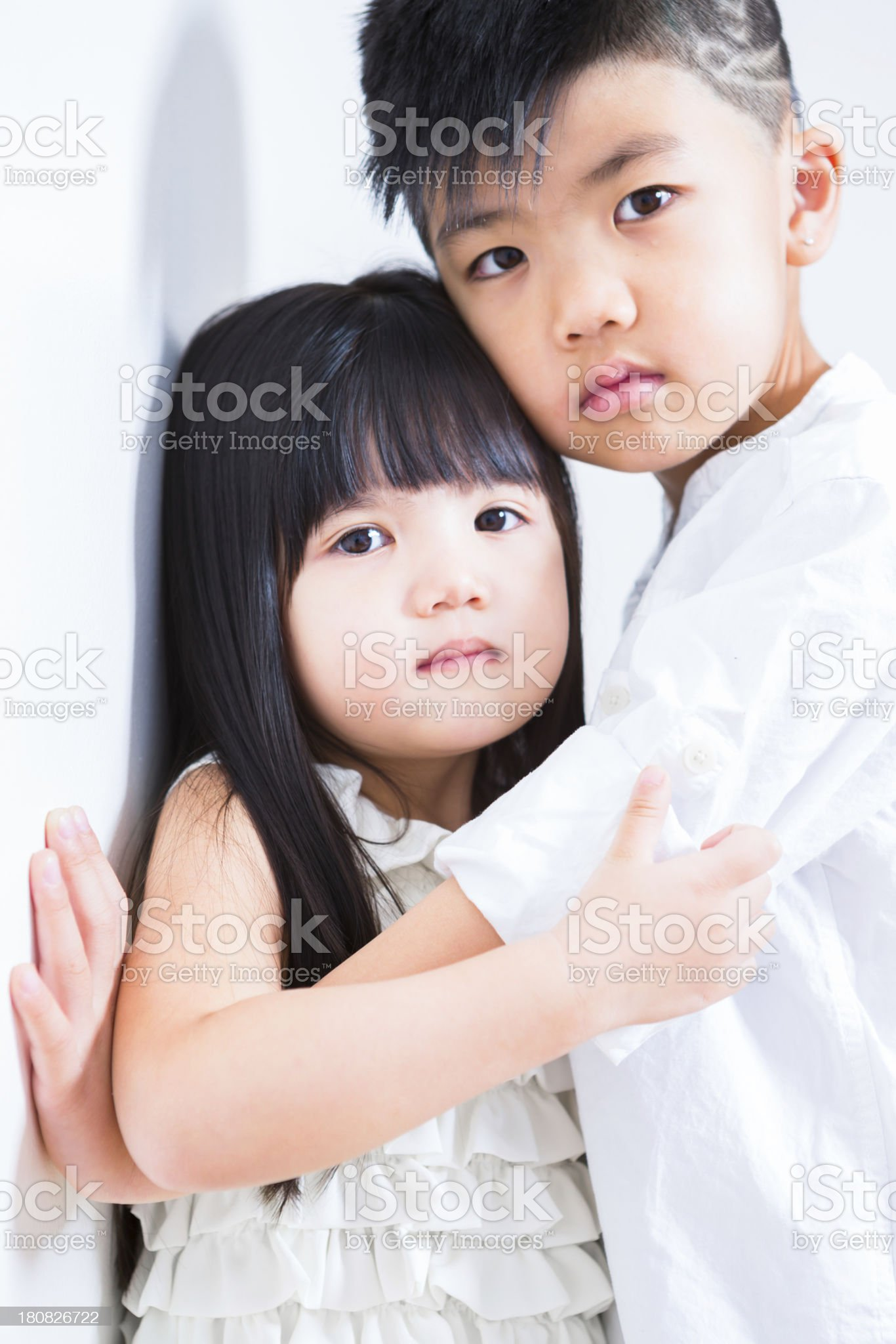 Cute sibling portrait royalty-free stock photo