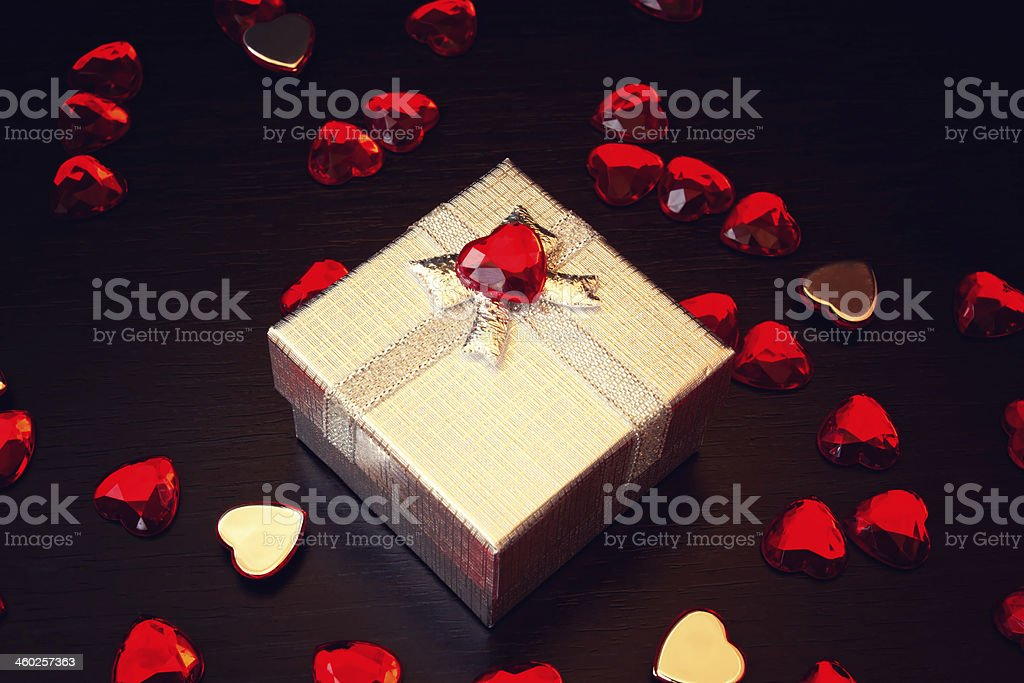 cute silver gift box for valentine's day royalty-free stock photo