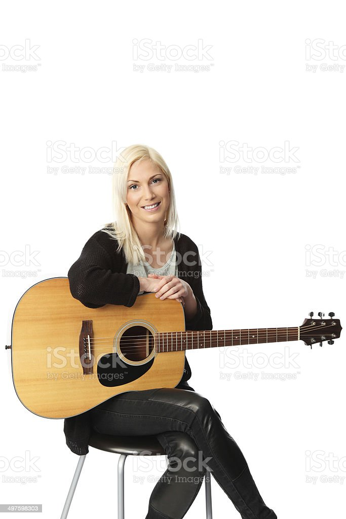 Cute singer songwriter stock photo