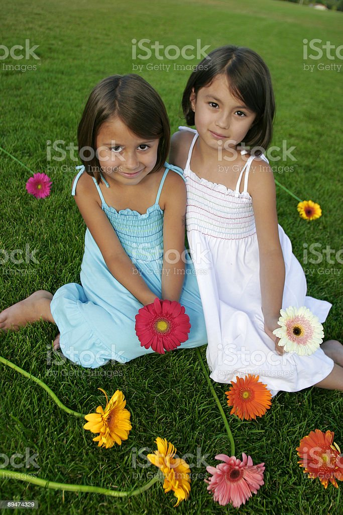 cute sisters in summer with flowers royalty-free stock photo