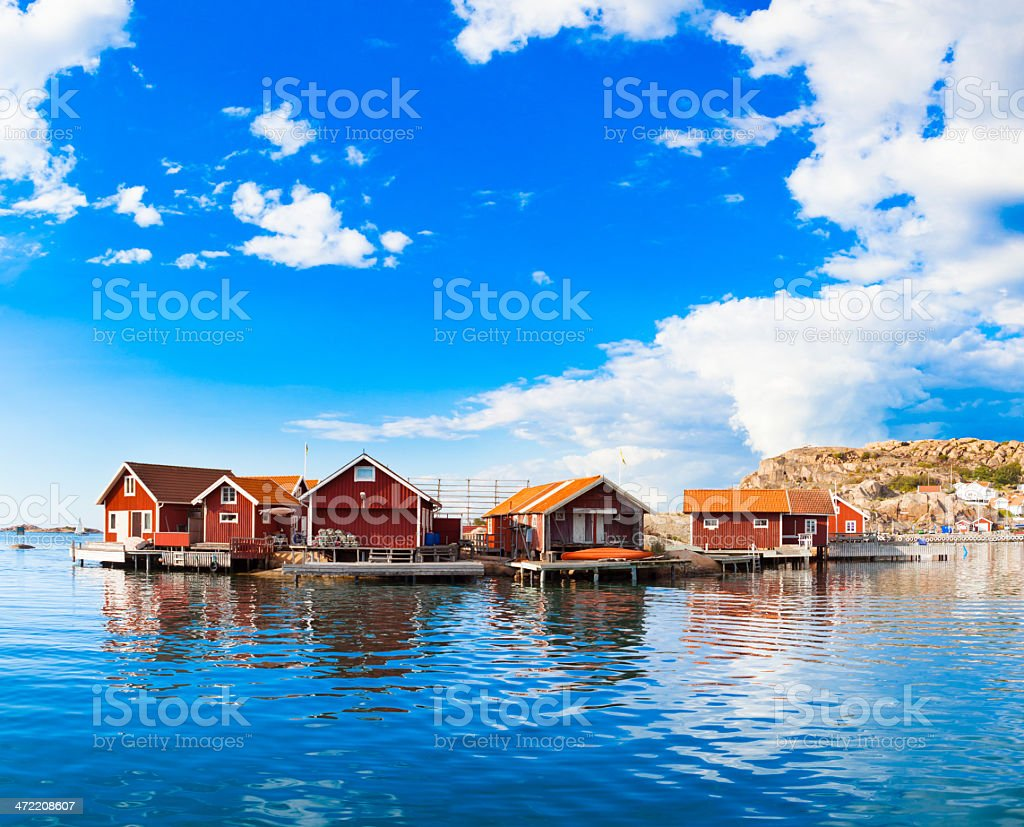 Cute small houses near the waterfront stock photo