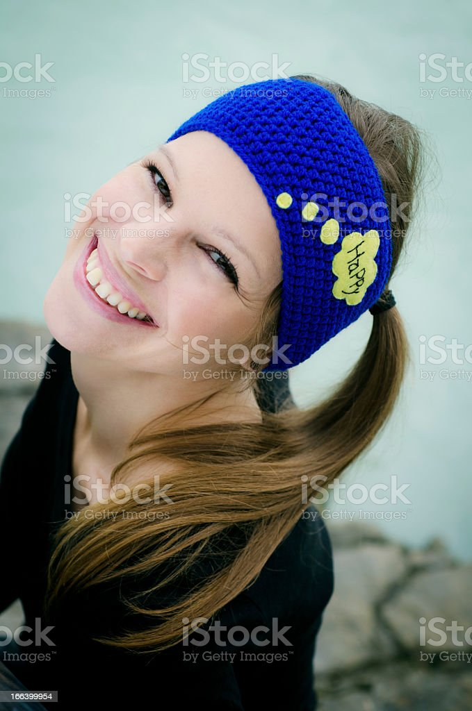 Cute Smiling Brunette with Woolen Hair Happy Band royalty-free stock photo