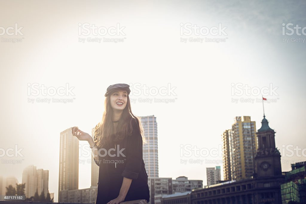 Cute smiling girl stock photo