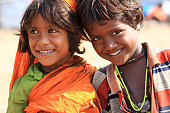 Cute smiling Indian little girl and boy