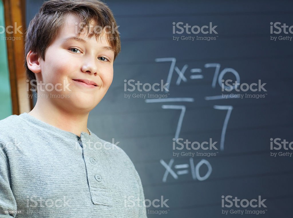 Cute smiling school boy standing against the backboard royalty-free stock photo