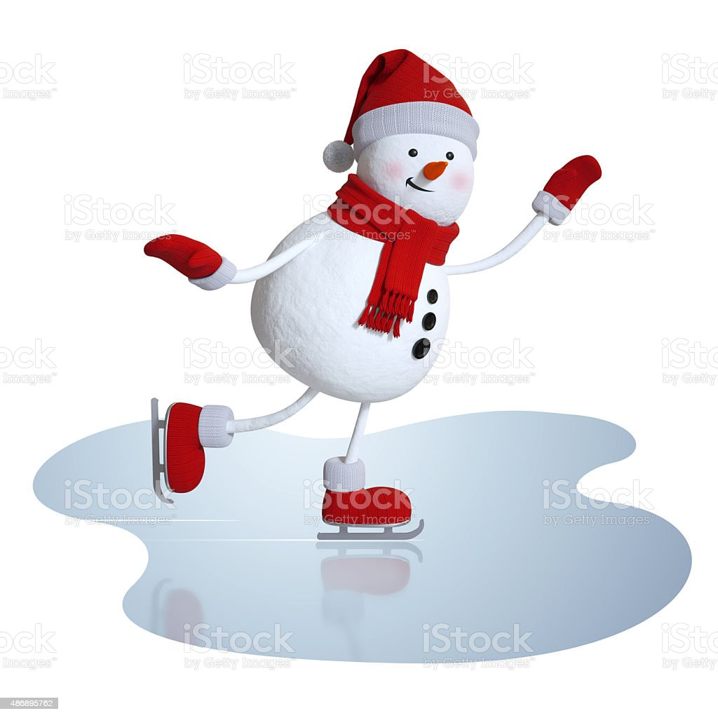 cute snowman figure skating, 3d character, winter outdoor activi stock photo