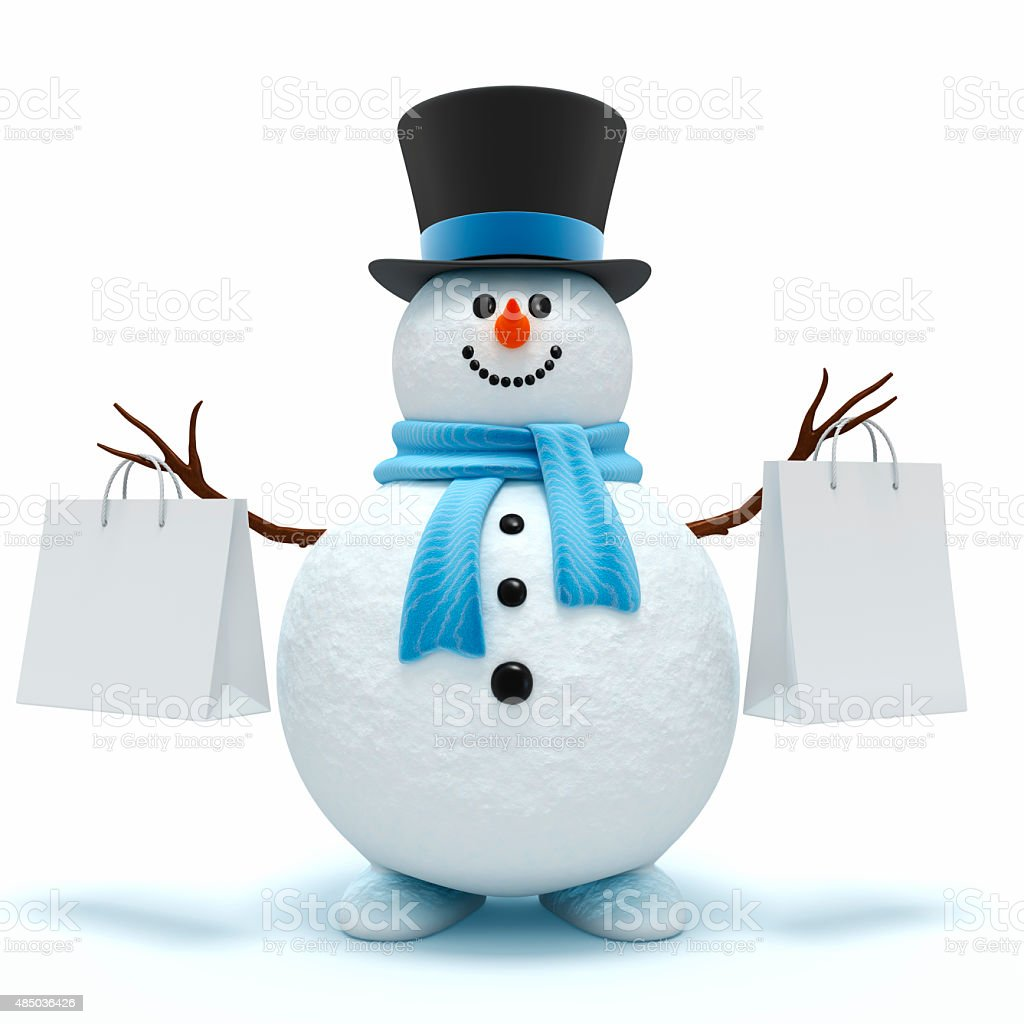 Cute snowman with shopping bags stock photo