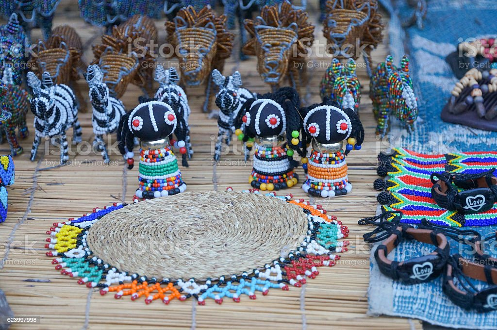 Cute souvenirs for sell , South Africa. stock photo