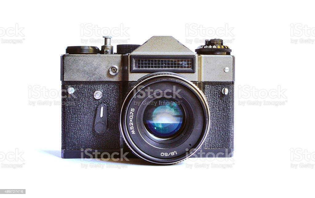 Cute soviet retro film camera isolated stock photo