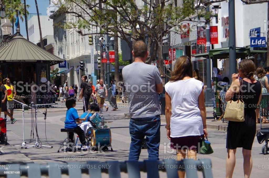 Cute street musicians stock photo