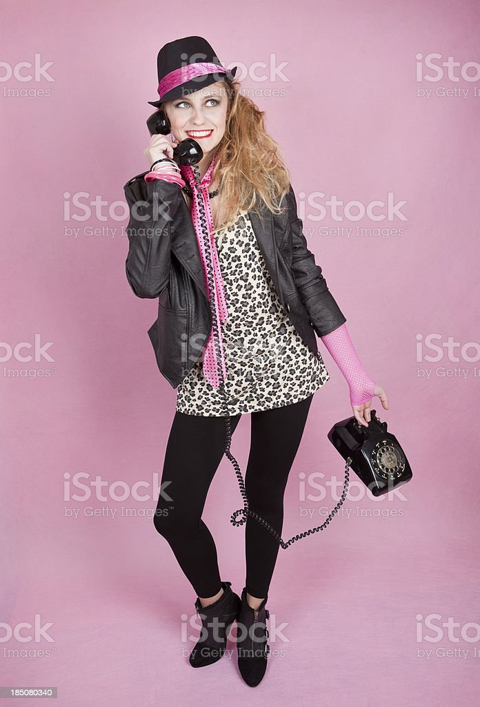 Cute Teen Dressed in 80's Style Clothing stock photo