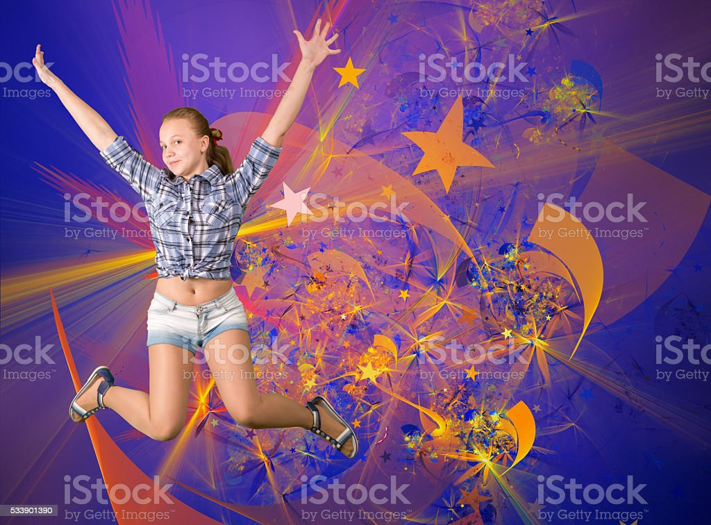 Cute teen girl having fun party stock photo