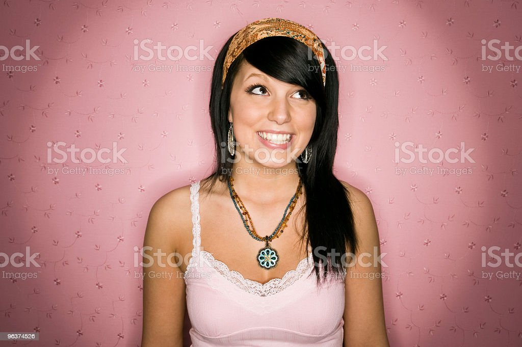 Cute Teen Girl in Pink Background royalty-free stock photo