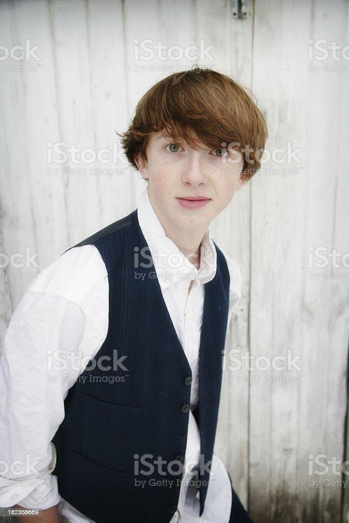 Cute Teenage Boy in Light Snow royalty-free stock photo