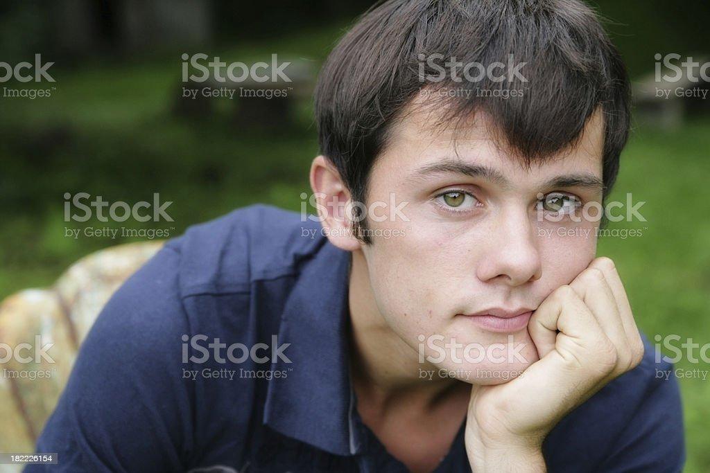 Cute Teenage Boy Looking at Camera royalty-free stock photo