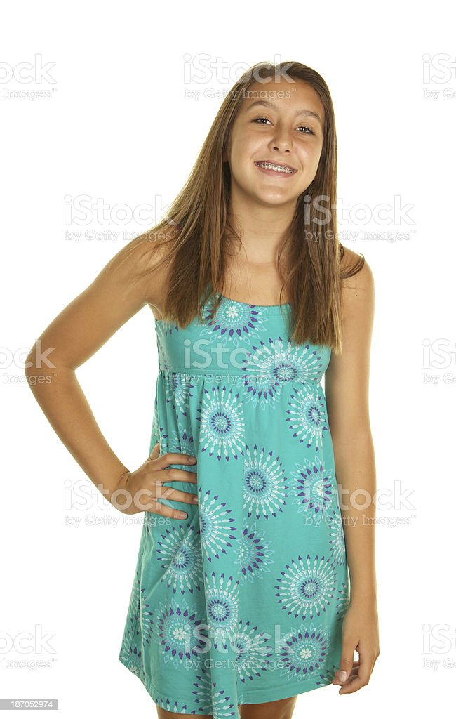 Cute Teenage Girl with Braces on White Background royalty-free stock photo