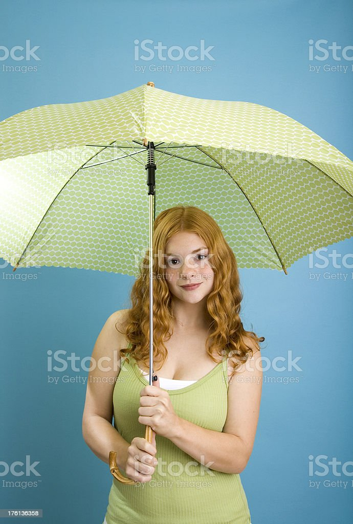 Cute Teenage Girl with Umbrella stock photo