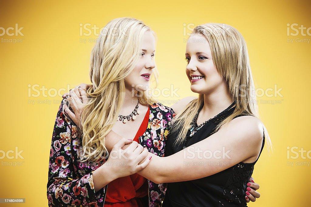 Cute teenagers hugging royalty-free stock photo