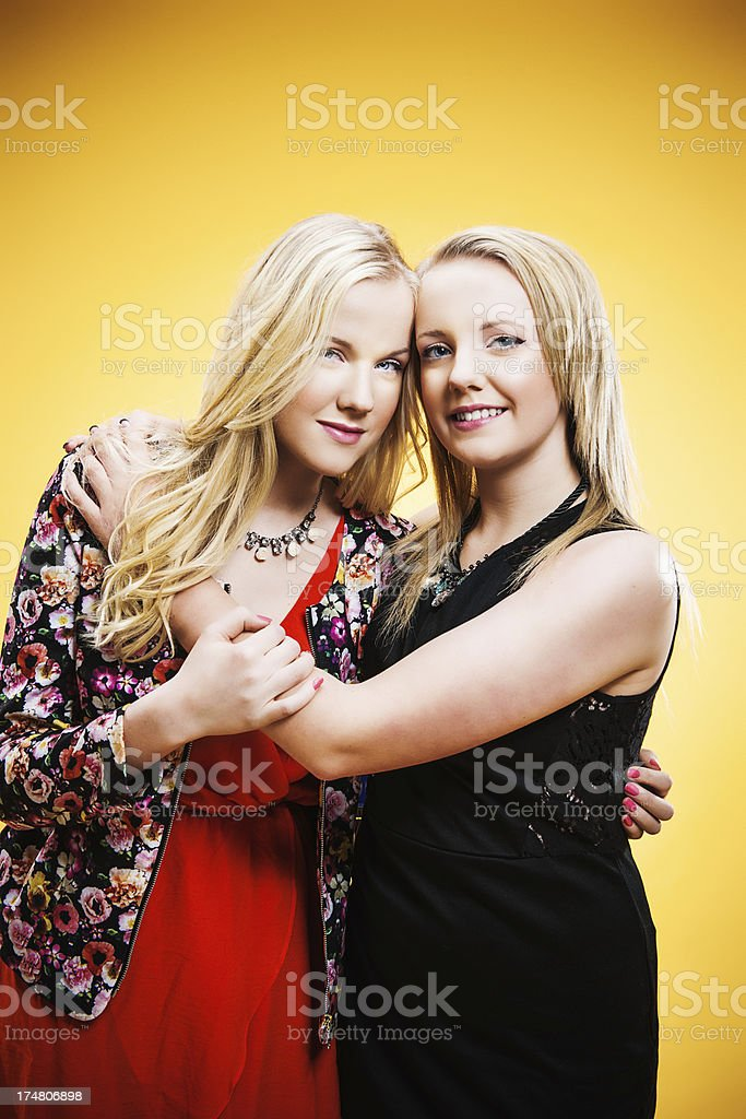 Cute teenagers hugging royalty-free stock photo