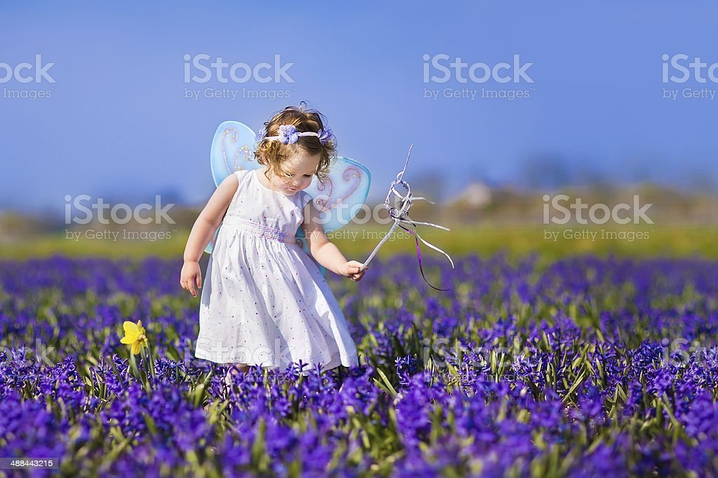 Cute toddler girl in fairy costume on a flower field stock photo