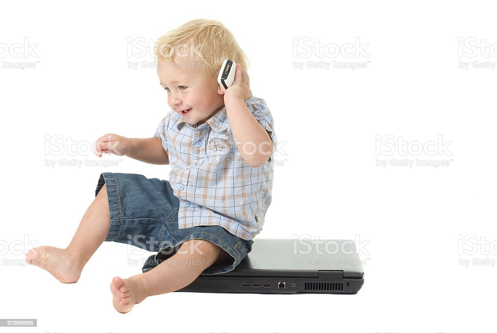 Cute Toddler talks on cellphone royalty-free stock photo