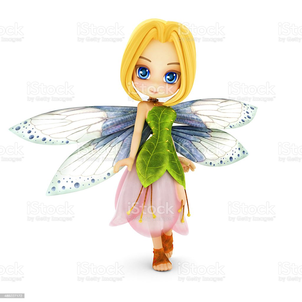 Cute toon fairy with wings smiling stock photo