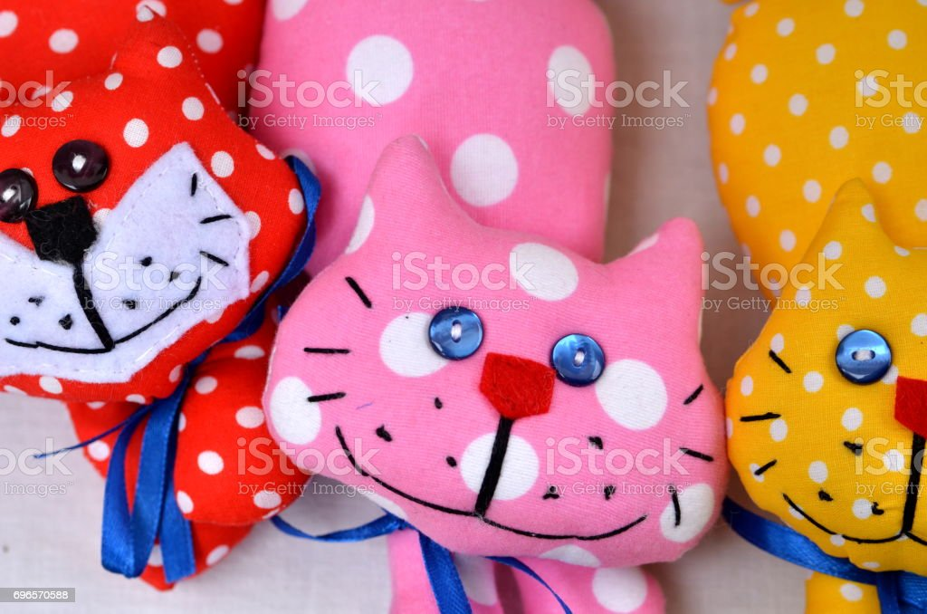 Cute toy cats stock photo