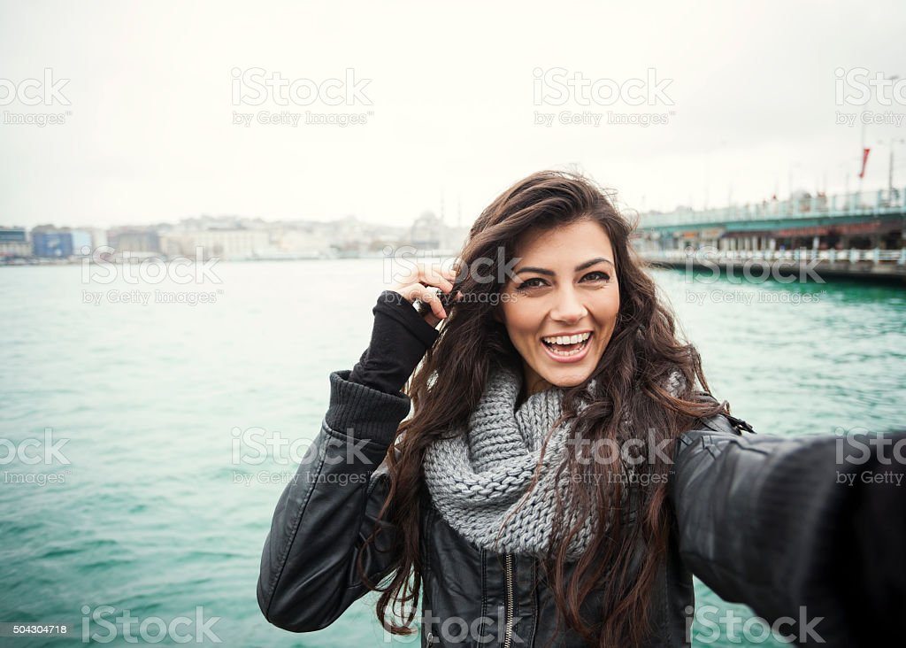 Cute Turkish Girl With Bright Smile Selfie stock photo
