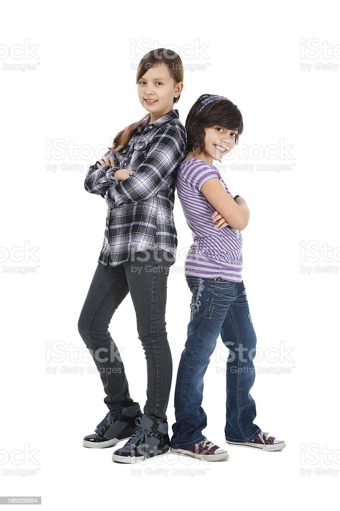 Cute tweens on white backdrop royalty-free stock photo