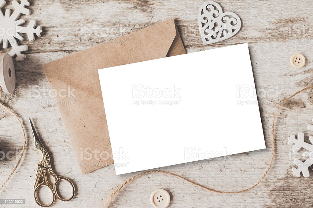 Cute vintage christmas new year gifts mock up stock photo