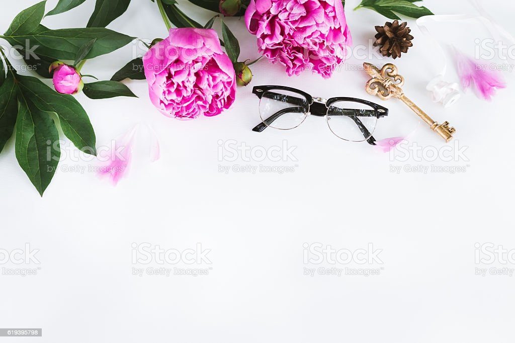 cute vintage photography with flowers flat lay top view stock, Beautiful flower