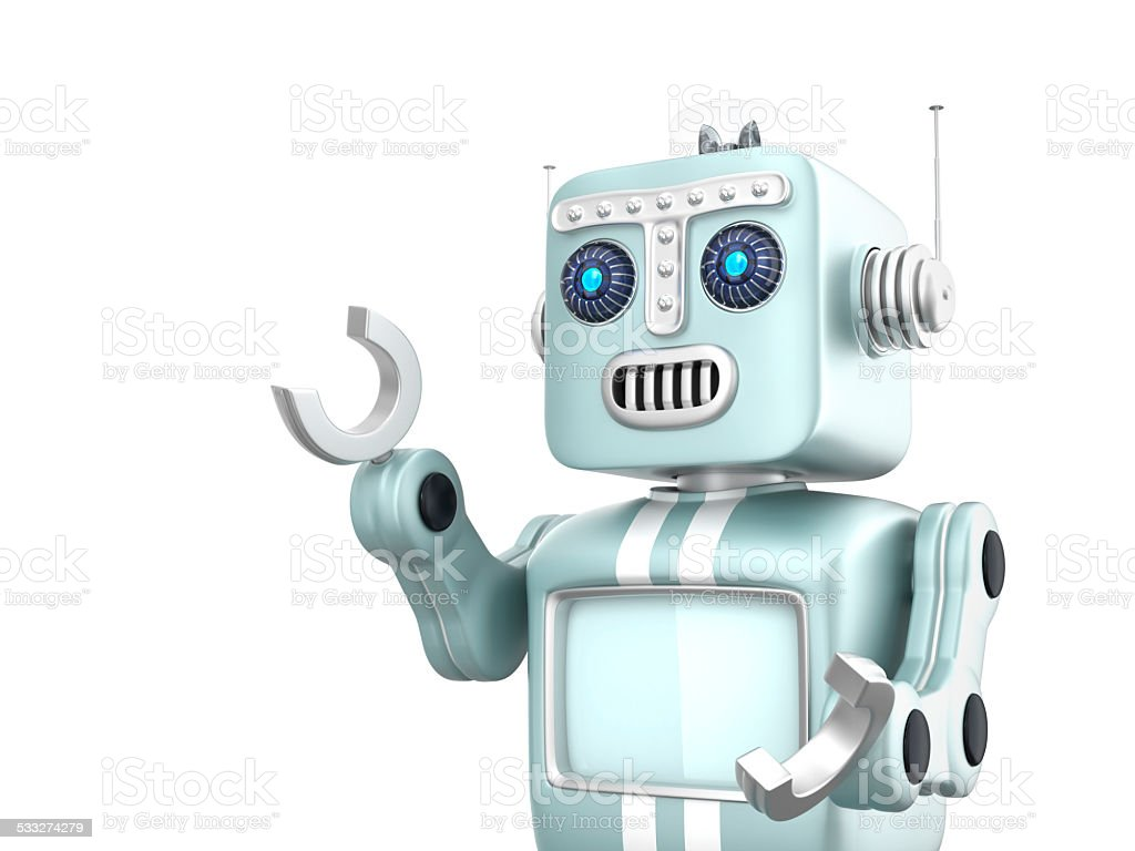 Cute vintage robot isolated on white background stock photo