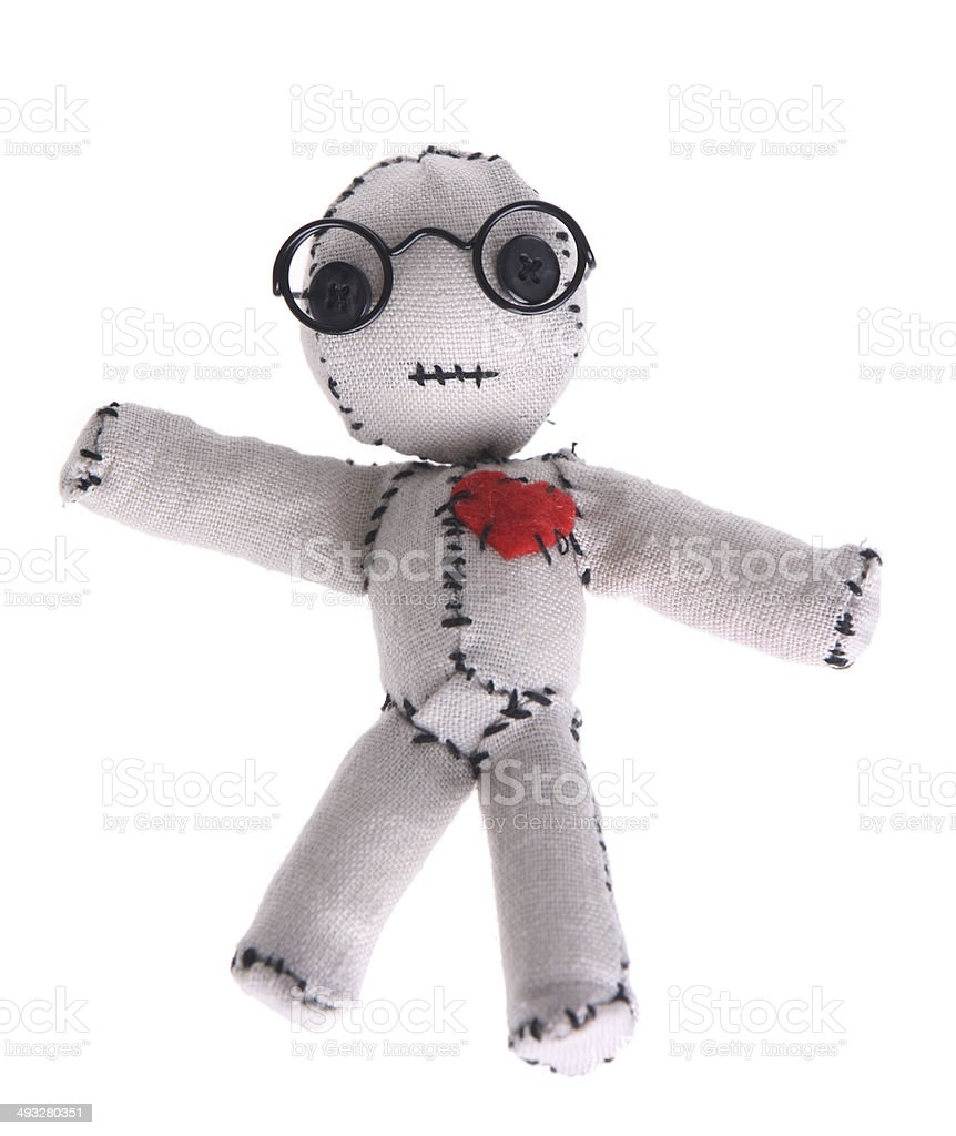 Cute Voodoo Doll with Glasses stock photo