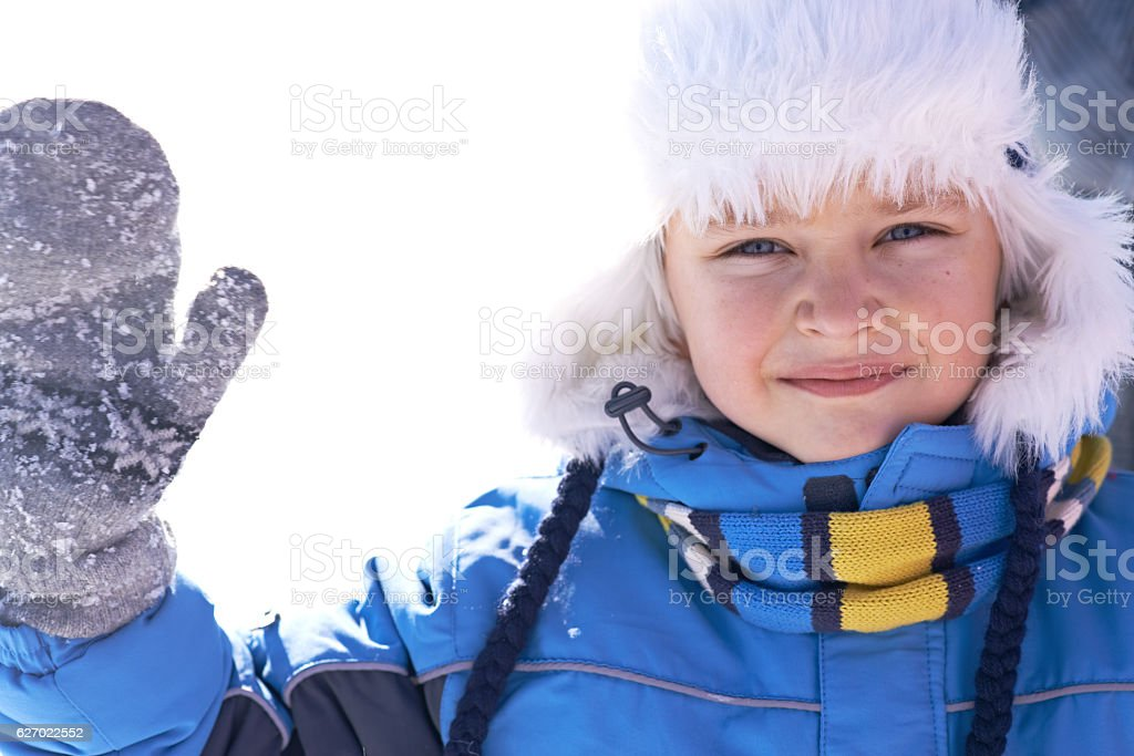 Cute winter boy stock photo