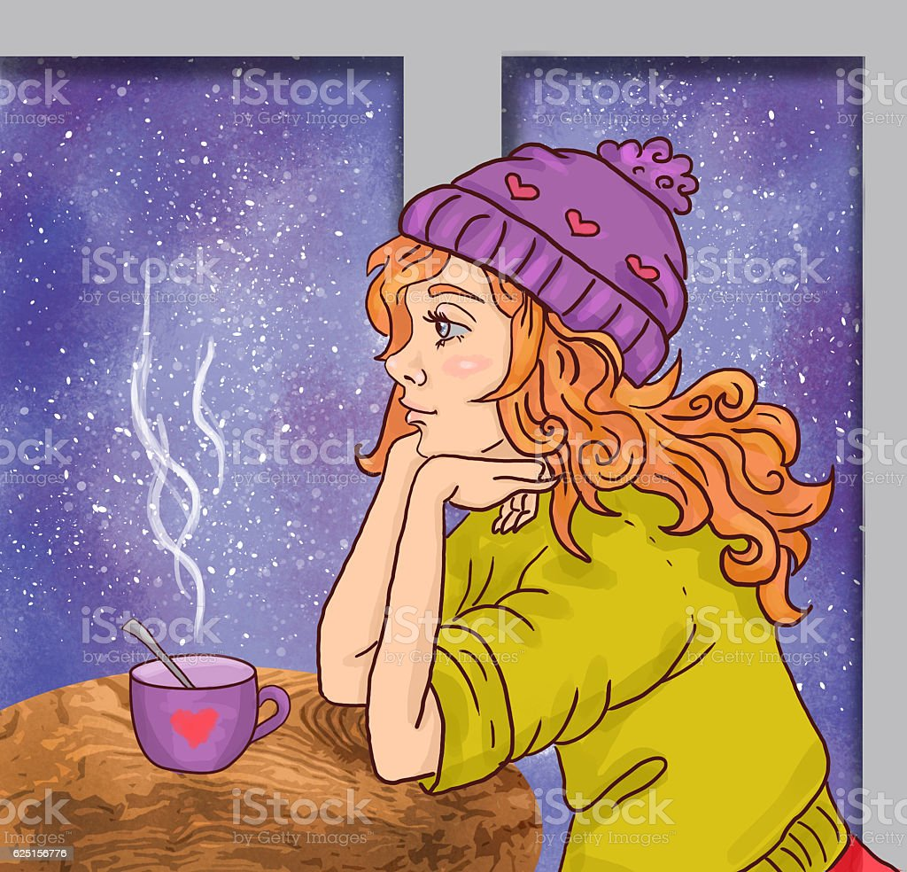 cute winter cartoon girl woman with cup stock photo