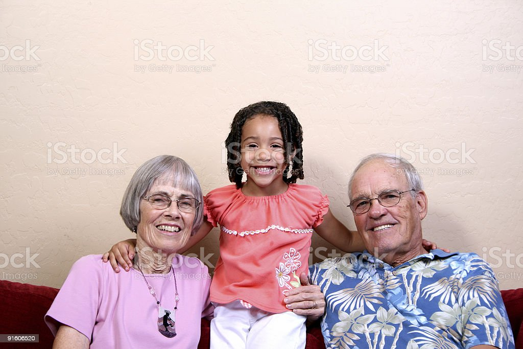 Cute with Grandparents royalty-free stock photo