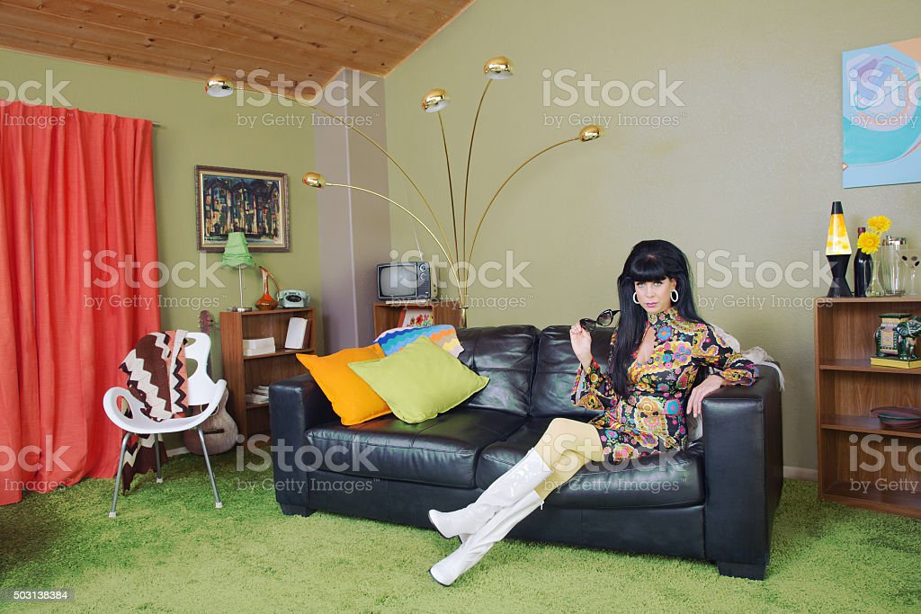 Cute Woman on Sofa stock photo